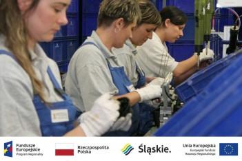 zdjęcie przedstawia kobiety pracujące na taśmie produkcyjnej, a pod nim umieszczono logotypy: Fundusze Europejskie - Program Regionalnym, Rzeczpospolita Polska, Śląskie, Unia Europejska - Europejski Fundusz Rozwoju Regionalnego