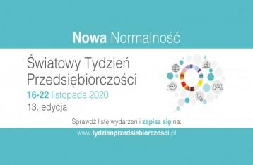 plansza z napisem Nowa Normalność Światowy Tydzień Przedsiębiorczości zawiera opis wydarzenia