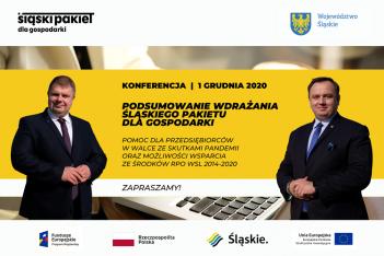 znak graficzny zapraszający na konferencję podsumowującą wdrażanie Śląskiego Pakietu dla Gospodarki, jaka odbędzie się 1 grudnia 2020 r. Na planszy widoczne są oznaczenia informujące o współfinansowaniu wydarzenie z funduszy europejskich