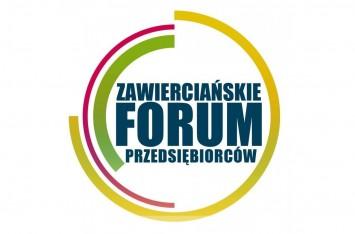 obraz przedstawia wpisany w koło napis Zawierciańskie Forum Przedsiębiorców