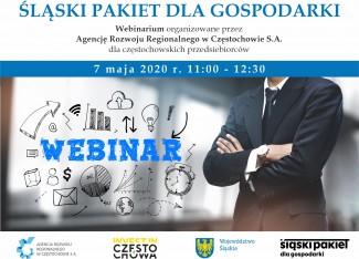 grafika zawiera podstawowe informacje o webinarium dotyczącym Śląskiego Pakietu dla Gospodarki