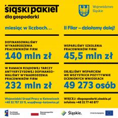 obraz przedstawia podsumowanie dale liczbowe dot. pierwszego miesiąca wdrażania Śląskiego Pakietu dla Gospodarki