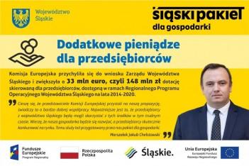 """Obraz przedstawia Marszałka Województwa Śląskiego oraz napis """"Dodatkowe pieniądze dla przedsiębiorców"""""""