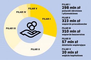 grafika przedstawia podział środków w Śląskim Pakiecie dla Gospodarki