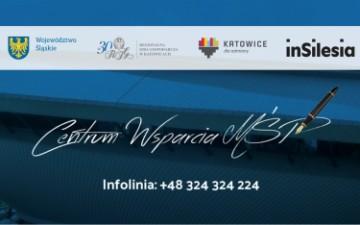 obraz przedstawia znaki Centrum Wsparcia MŚP numer telefonu oraz znaki graficzne Województwa Śląskiego, Regionalnej Izby Gospodarczej w Katowicach, Miasta Katowice oraz znak InSilesia