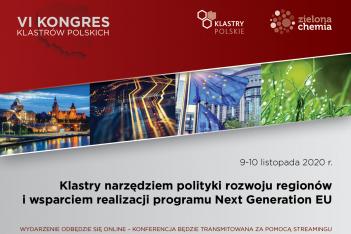 plansza tytułowa przedstawia informacje o Kongresie Klastrów Polskich